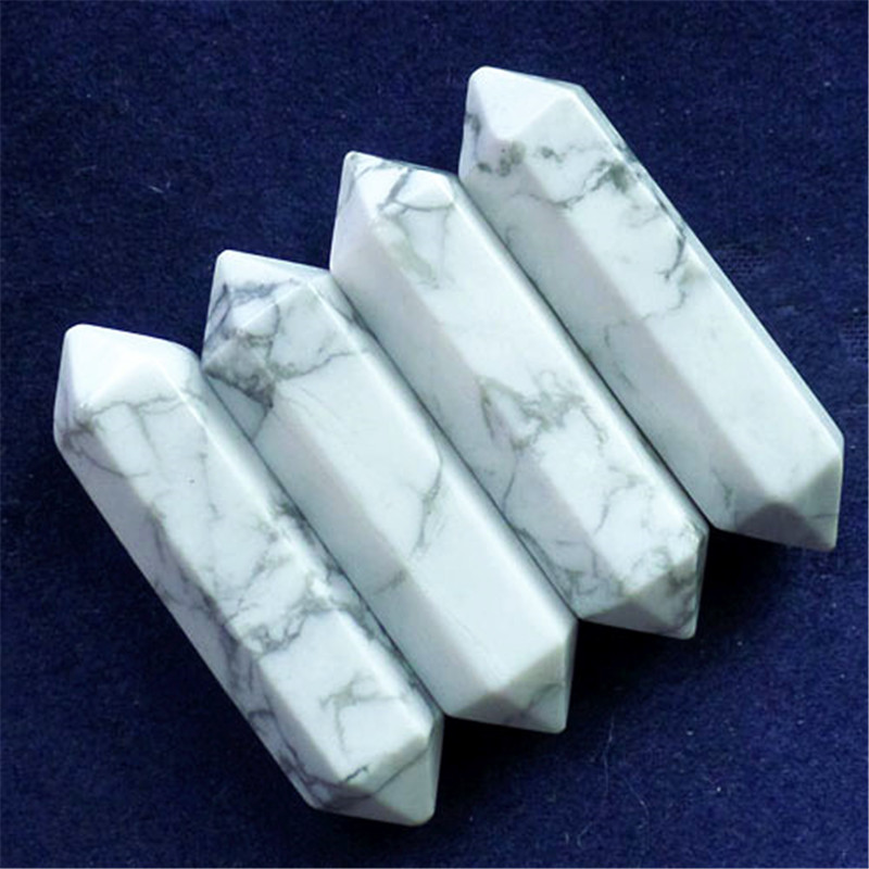 Free shipping(4 pieces/lots) Beautiful Facted White Howlite Pendulum CAB CABOCHON 32x8mm (Min.order 10$ mix)