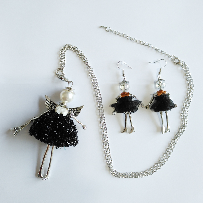 Ylwhjj new women black dress doll long pendant lovely for Jewelry accessories for black dress