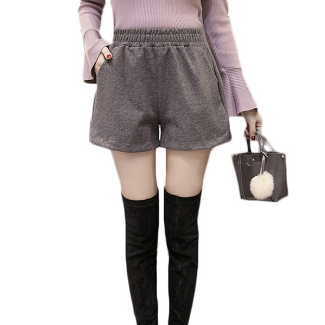 New Autumn Shorts Women 2018 Winter Loose Korean Wide Leg Shorts Feminino Warm Shorts Elastic Waist Pocket Short Femme