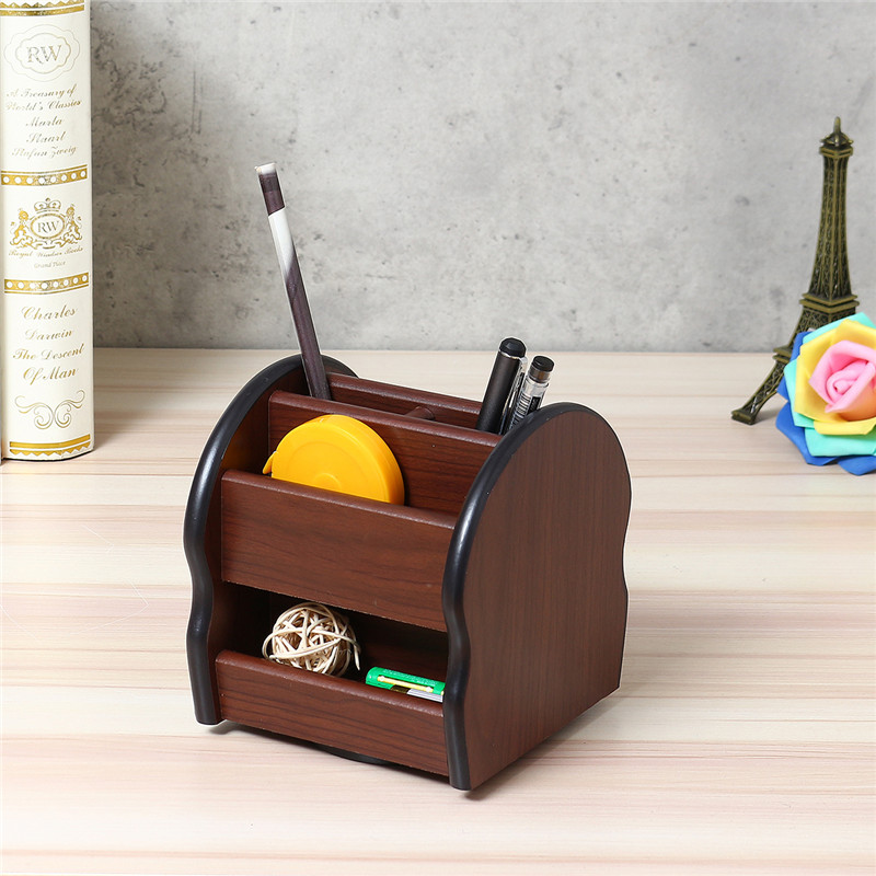 Multifunctional Home Organizer Table Storage Rack 360 Degree Turntable Pencil Vase Pen Box Wooden TV Remote Control Holder Stand