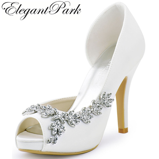 Beau Women Platform High Heels Bridal Wedding Shoes Ivory White Rhinestones Peep  Toe Bride Bridesmaids Prom Pumps
