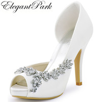 Women Shoes Wedding Bridal Platform High Heel Ivory White Crystal Peep toe Bride Bridesmaid ladies Prom Pumps Navy Blue HP1560IA