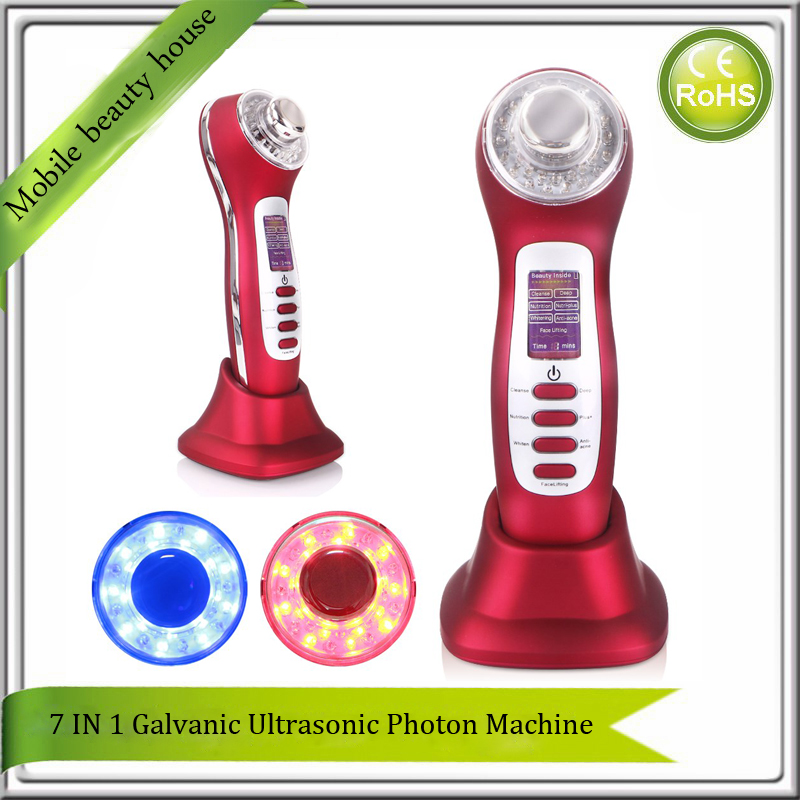 7 IN 1 Skin Care Options Ultrasonic Galvanic Ion Photon Skin Rejuvenation Anti Aging Acne Remover Face Lifting Beauty Machine все цены