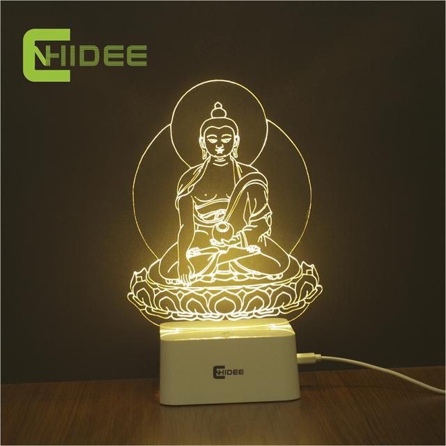 CNHIDEE 5 Cor Sakyamuni Buddha Estátua 3D Conduziu A Lâmpada Dimmable Luz Noturna Mesa Lampara Mesa NightLight Decoração do Quarto das Crianças