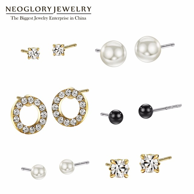 Neoglory Austrian Rhinestone Light Yellow Gold Color Simulated Pear Stud  Earrings Set For Women India Jewelry 2018 New Colf b849a902cda1