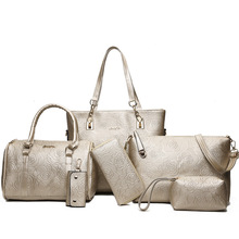 6pcs Women Bag Set Leather Handbag Designer Luxury Crossbody Bags Ladies Flower Shoulder Messenger Composite Totes Clutch