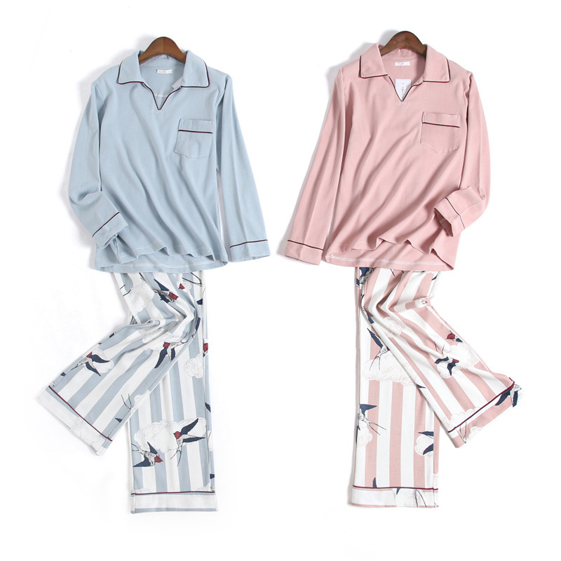 Fresh Swallow woman   pajamas     sets   adult 100% knit cotton long sleeve Japanese pijamas sleepwear pyjamas pijama feminino sexy