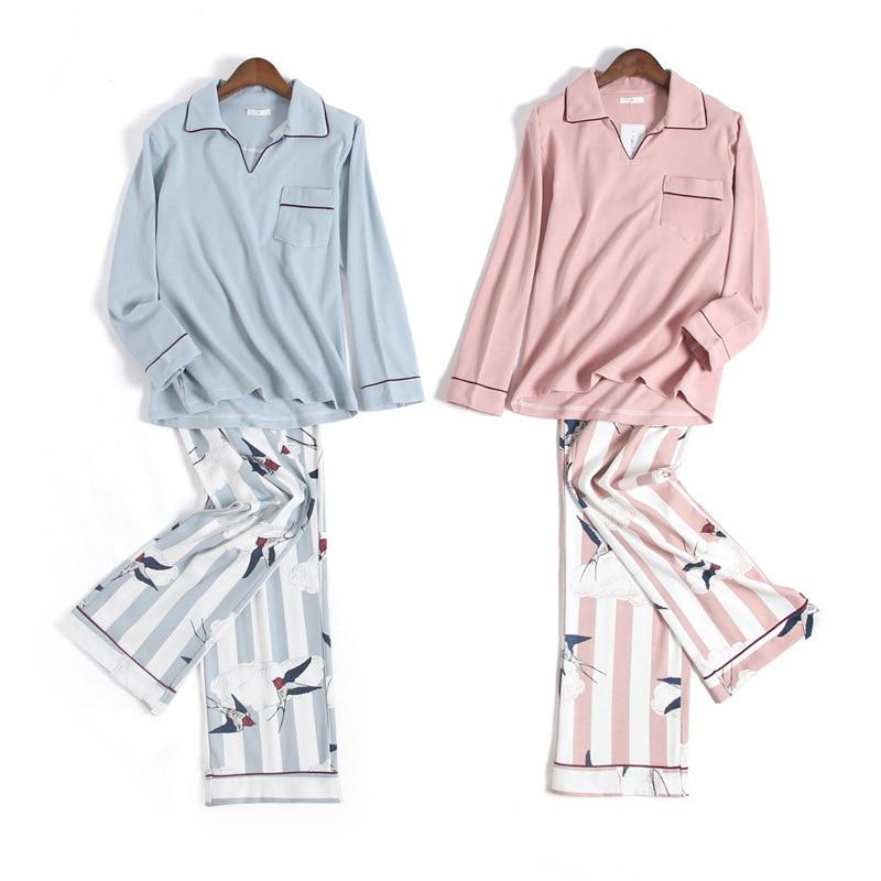 Fresh Swallow woman pajamas sets adult 100% knit cotton long sleeve Japanese pijamas sleepwear pyjamas pijama feminino sexy