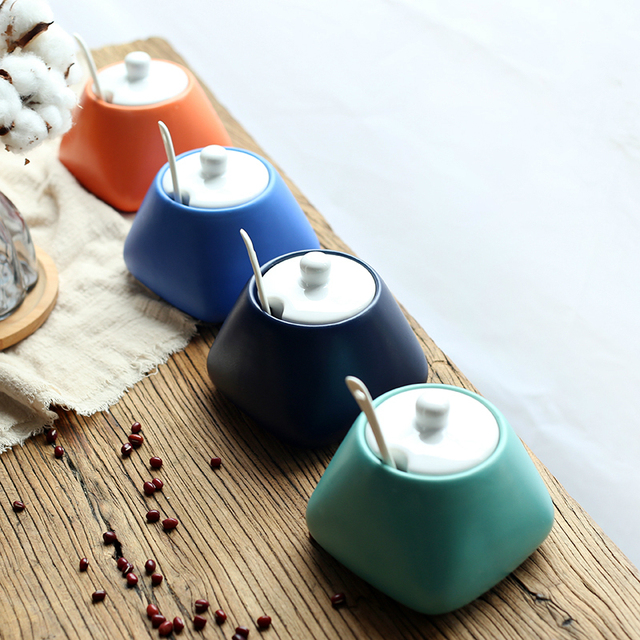 New Art Azucarero Ceramic Coffee Sugar Bowl Sucrier Pot Miel Spice Jar Salt Container Saltcellar Sweettreats Azucarero Suikerpot