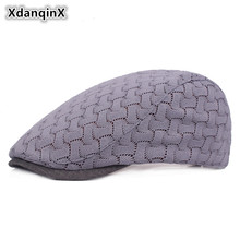 XdanqinX Mesh Breathable Hat For Adult Women Lace Decorated Berets Spring And Summer Adjustable Size Grid Tongue Cap Female Hats