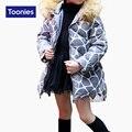 Crianças Gils Casacos Parka Inverno Quente Engrossar Capuz de Pele De Manga Longa de Todos Os Jogo da Cópia do Leopardo Crianças Casaco Outwear Roupas Cinza 3 cor