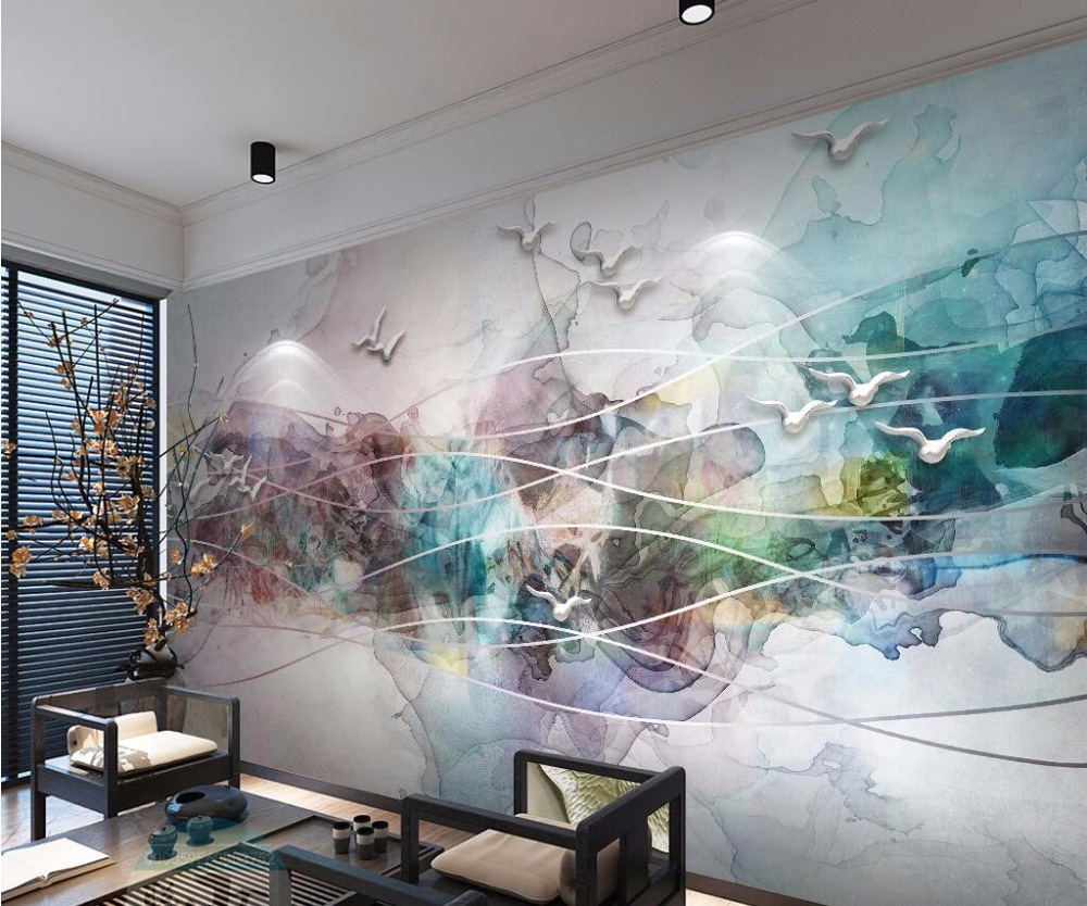 beibehang Custom Wallpaper Chinese Style Abstract Decorative Painting Ink Landscape Birds TV Wall Background mural 3d wallpaper 30pcs in one postcard chinese ancient ink landscape painting christmas postcards greeting birthday message cards 10 2x14 2cm