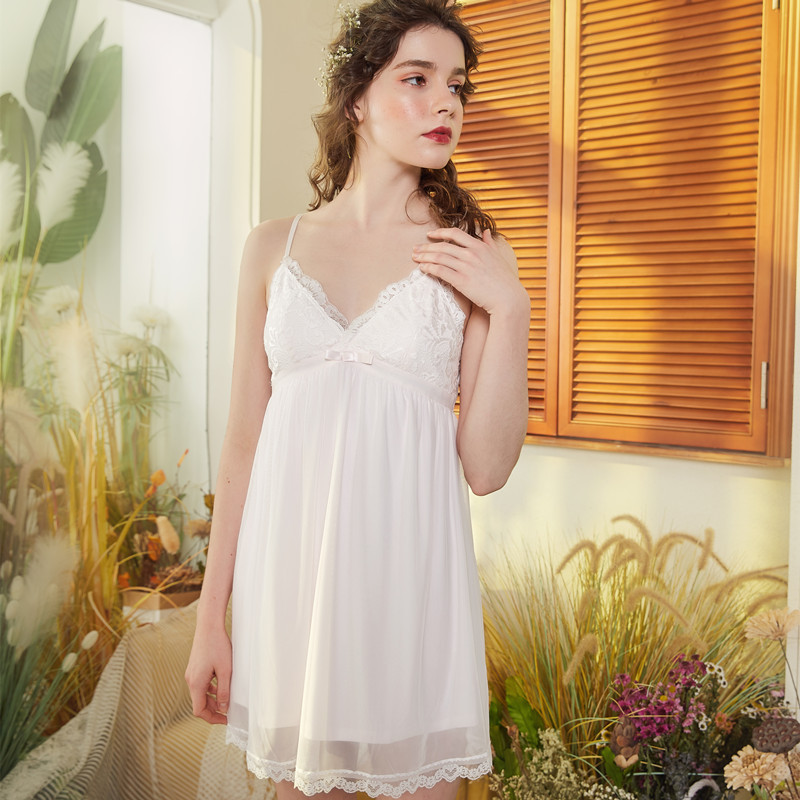 Nightgowns     Sleepshirts   2019 Lace Sleepwear Sexy Home Dress Spaghetti Strap Nightdress Modal Sleep & Lounge   Nightgown   Female