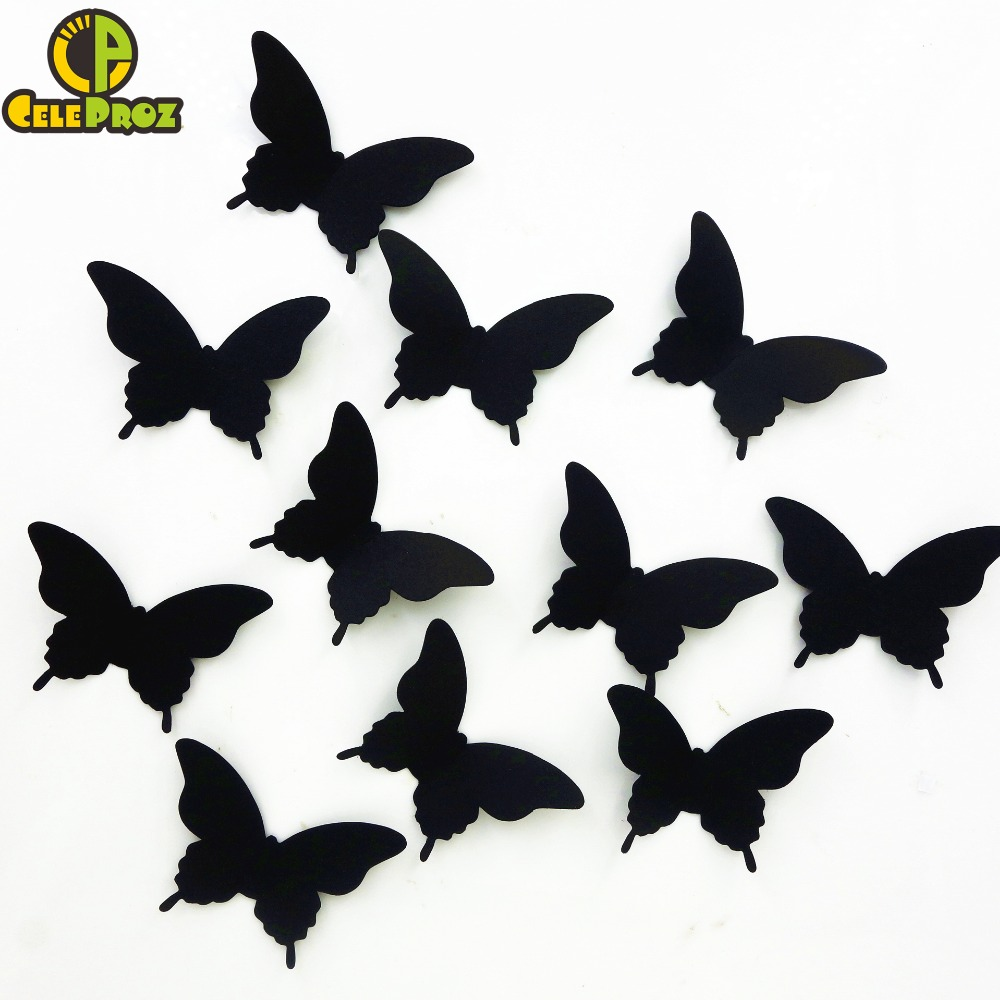 20pcs 3D Paper Butterfly Wall Sticker decor Butterflies art Decal stickers on the home wall Fridge DIY Paper Decoration Supplies