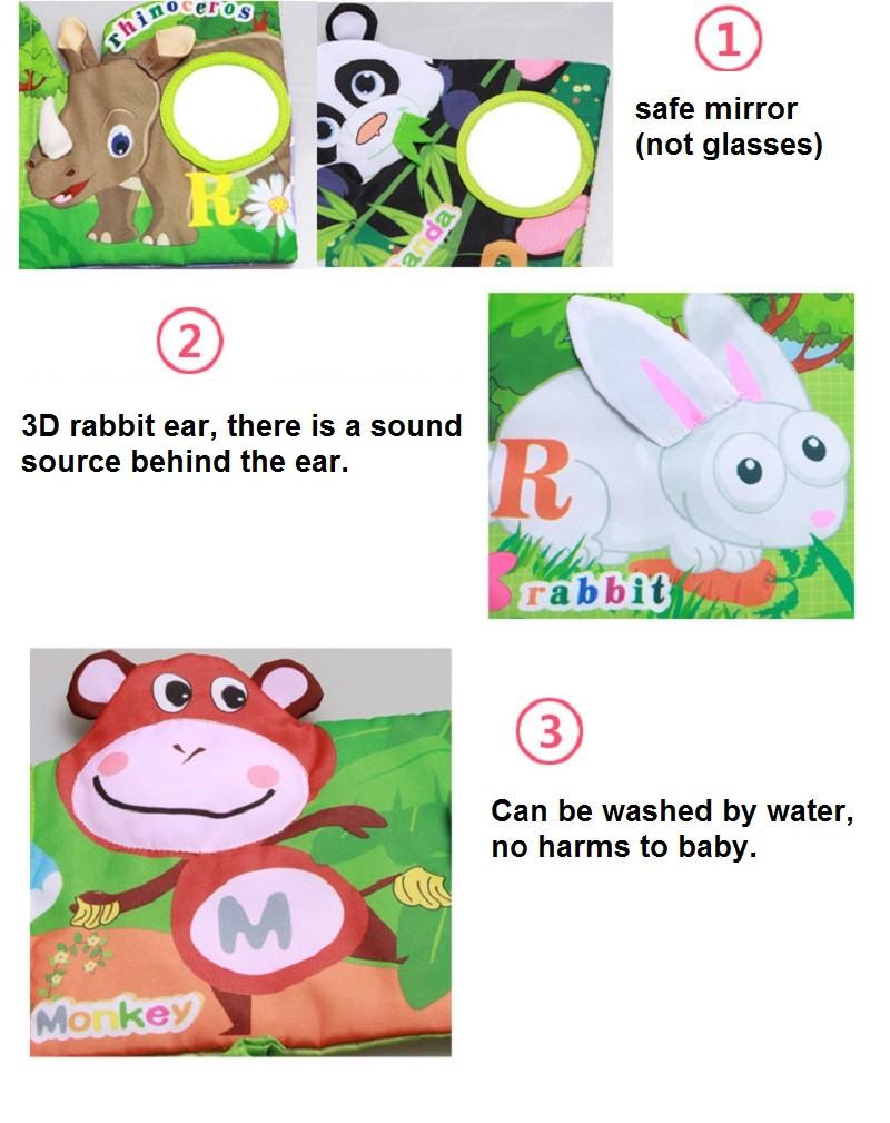 Infant Activity Book Cartoon Animal Soft Baby Educational Toy Cloth Book Plush Animal Story Intelligence Developing Toy KF030 6