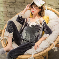 3 Pcs/Set Spring and Autumn Clothes Nursing Sleepwear Fashion Gold Velvet Breastfeeding Pajamas Maternity Clothes A050
