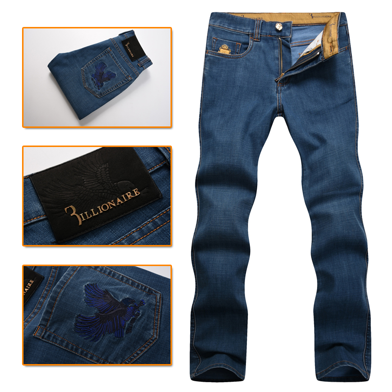 Billionaire italian couture men's jeans 2016 new fashion commercial embroidery Englan Dark blue thick high quality free shipping napapijri guji check dark blue