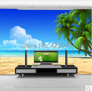 Can Be Customized Ocean Blue Sky Green Natural Scenery Home Decor Large Mural Wall 3D Wallpaper