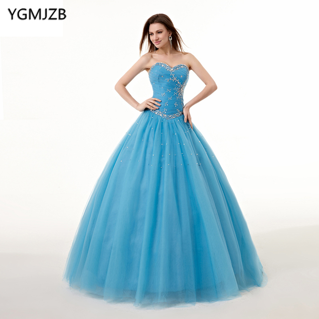 fcfd95dc6a1cb Aliexpress.com : Buy Puffy Quinceanera Dresses 2018 Ball Gown Sweetheart  Beading Sweet 16 Blue Quinceanera Dress 15 Years Birthday Party For Girl  from ...