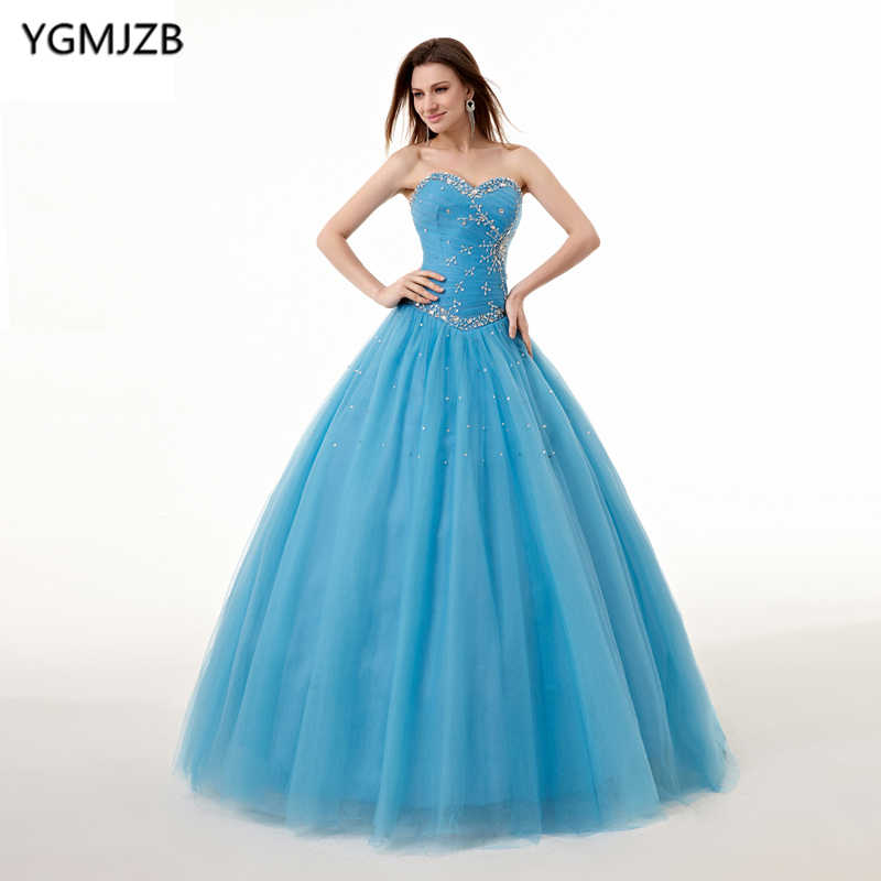 Puffy Quinceanera Dresses 2018 Ball Gown Sweetheart Beading Sweet 16 Blue  Quinceanera Dress 15 Years Birthday e6ffaf656842