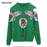 When We Retro Women Sweater Green Fashion Cartoon Fish Embroidery Female Knitted Tops Long Sleeve Ladies O neck Pullovers YC21