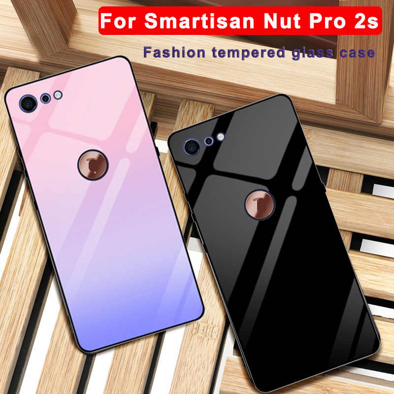 For Smartisan Nut Pro 2s case Solid color tempered glass phone cover For Smartisan Nut Pro2s case OE106 Gradient glass shell