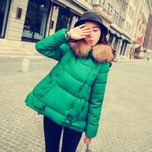 Winter jacket women fur hooded wadded jacket female medium long casual cotton padded jacket thickening winter