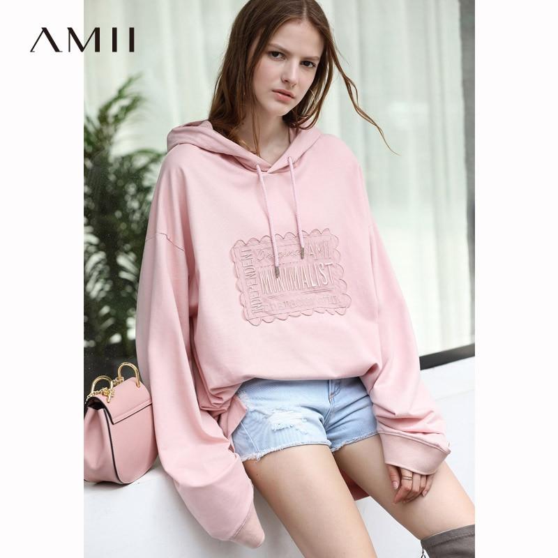Amii Femmes Chic 2018 Automne Sweat 100% Coton Surdimensionné Broderie Croix Sangle Brodé Femelle Sweat Shirts