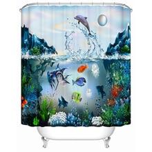 Под морская рыба Для ванной душ Шторы 3D рисунком Водонепроницаемый Ткань Для ванной Шторы полиэстер