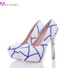 2017 New Design Custom Made White Color Bridal Wedding Shoes with Blue Rhinestone Prom Pumps Anniversary