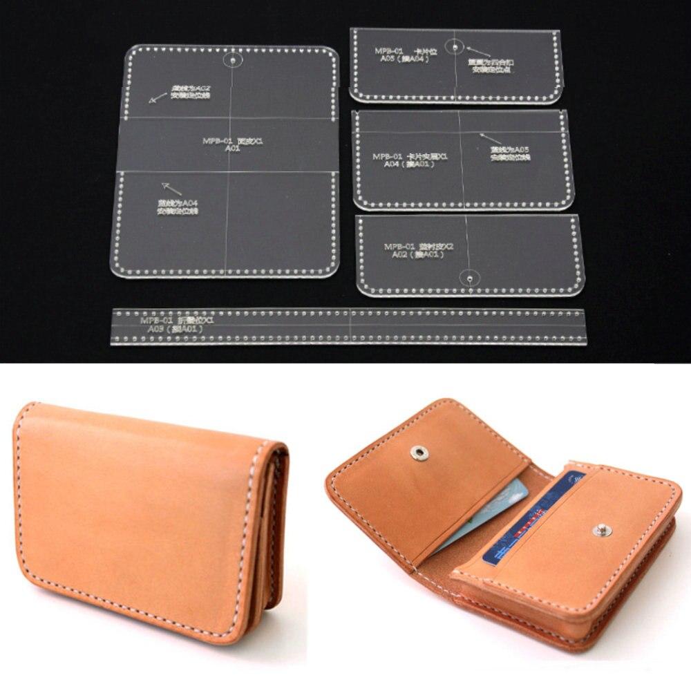 5 Pcs Acrylic Clear Card Bag Purse Wallet Stencil Template DIY Leather Craft eyeliner stencil card 2pcs