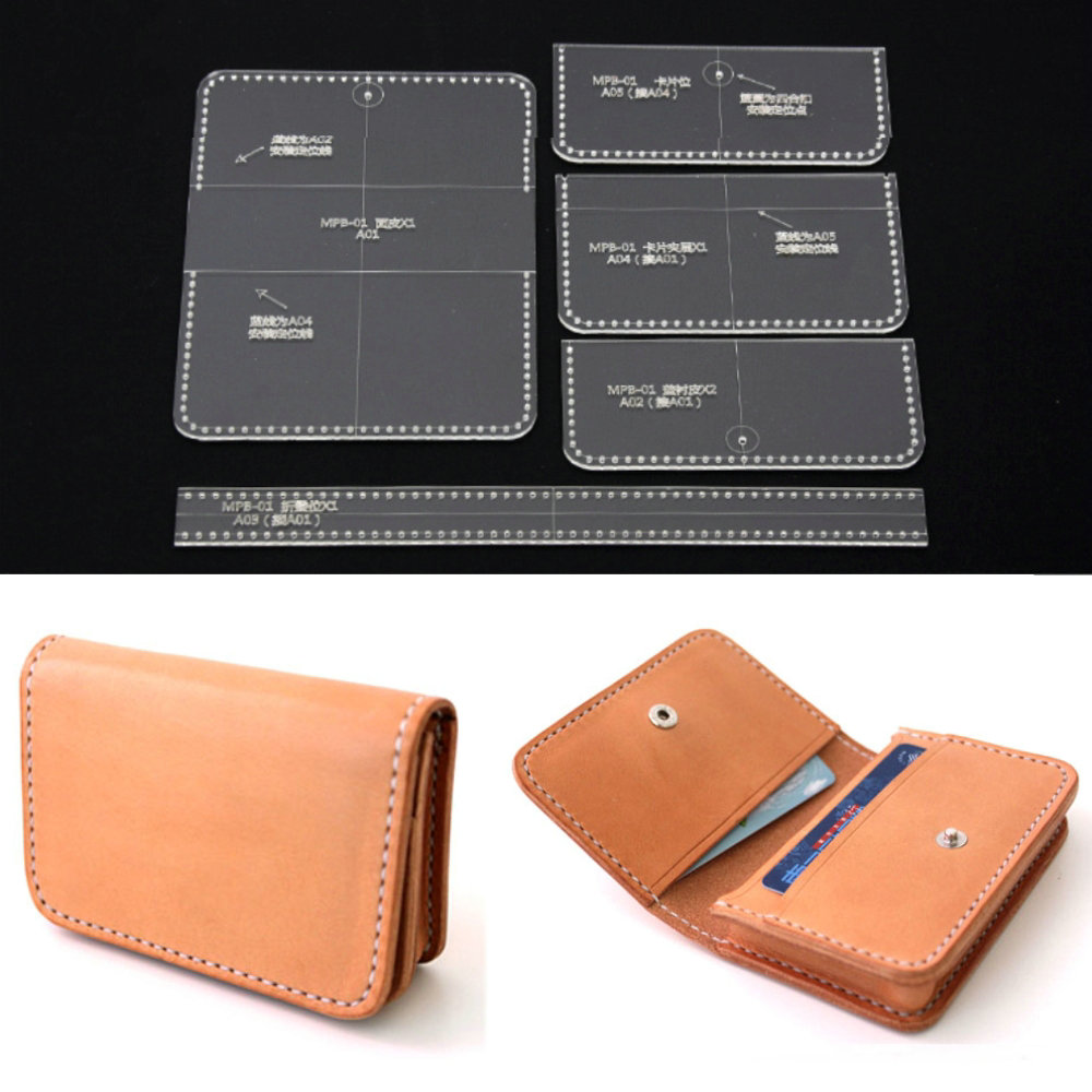 5 Pcs DIY Leather Craft Acrylic Clear Card Bag Purse Wallet Stencil ...