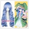 Бесплатная Доставка 65 см ДАТА Живая Есино Аниме Партия Парик Синтетические Волосы Волнистые Cruly Длинные Голубые Косплей Парик
