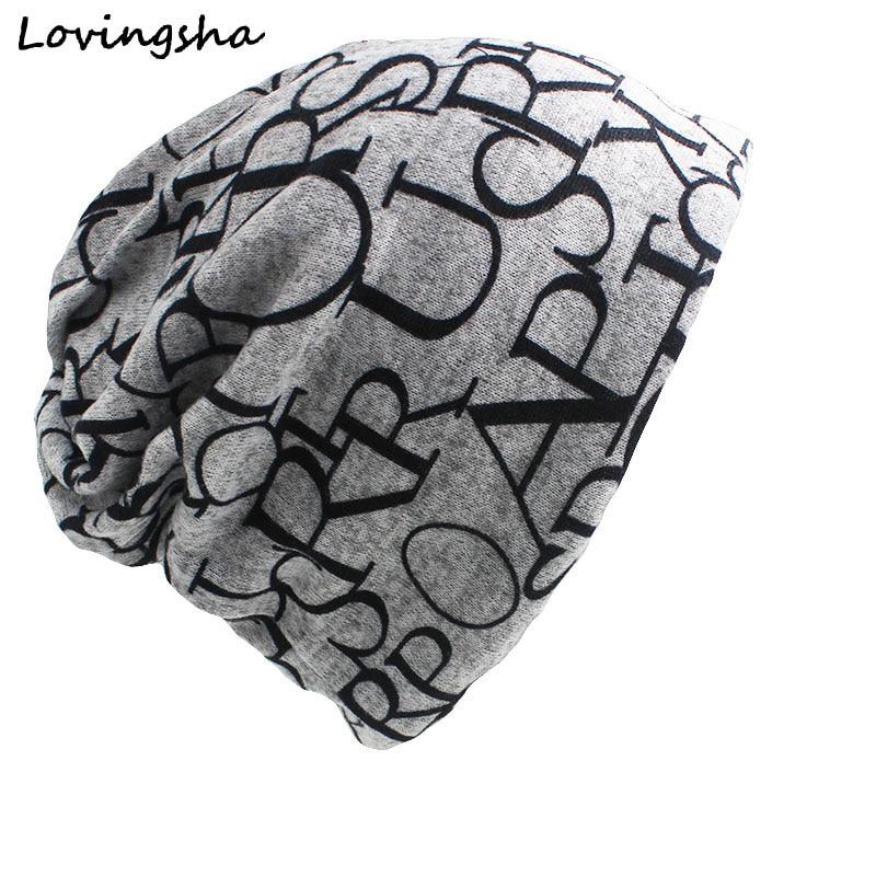 LOVINGSHA Brand New Cotton Hip Hop Warm Beanies Cap Women Men Knitted Knit Letter Scarf Dual Autumn Winter Fashion Hats AHT006