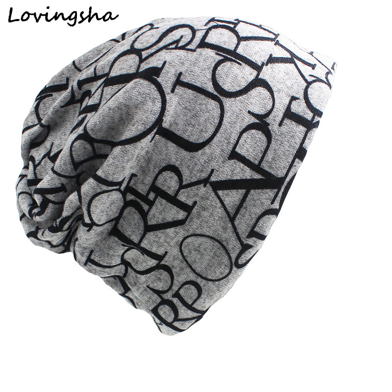 LOVINGSHA Brand New Cotton Hip Hop Warm Beanies Cap Women Men Knitted Knit letter scarf dual Autumn Winter Fashion Hats AHT006