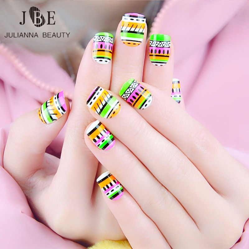 Pre Designed Short False Nail With Free Glue Fake Nails For Kids ...