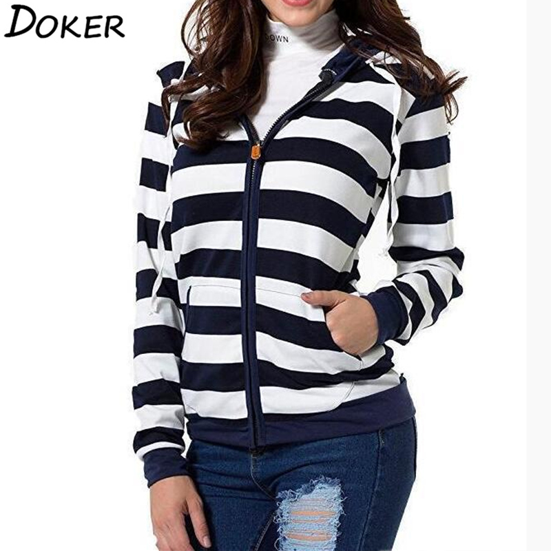 2019 Autumn Women Striped Hoodies Sweatshirt Long Sleeve Hooded Zipper Pockets Jackets Casual Plus Size Tracksuit Womens Clothes