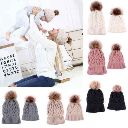 PUDCOCO 1 шт., теплая зимняя вязаная шапочка мех, шапка с помпоном, вязаная крючком, повседневные лыжные шапочки