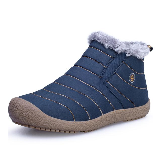 US6-10 Mens Impermeable Suave Algodón Súper Cálido Alineado Piel de la Nieve del Invierno Botas Para Hombre Zapatos Casual de Invierno