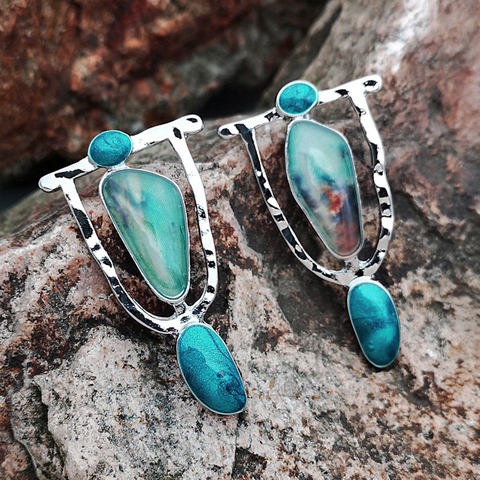Indian Tribal Personality Natural Dangle Drop Earrings Resin Stone Boho Ethnic Vintage Hanging Earrings 2019 For Women N5E680 Lahore