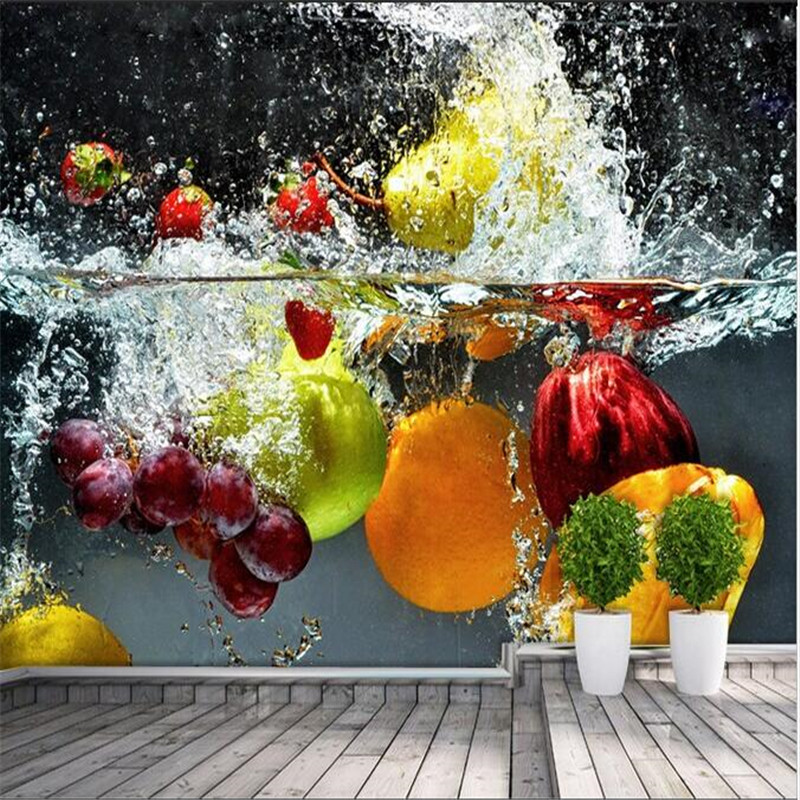 Kitchen Design Hd Wallpapers: Custom Silk Photo Wallpaper HD Artistic Orange Flower Water Of The Fruit Living Room Backdrop 3d