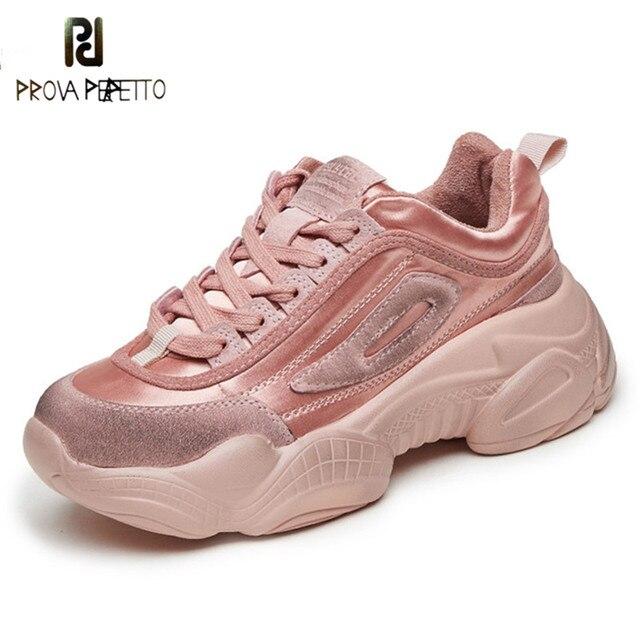 Prova Perfetto 2019 Moda Kadın Ayakkabı Kalın Taban Bayanlar platform ayakkabılar Web Ünlü Tıknaz Baba Sneakers Femme Buty Damskie