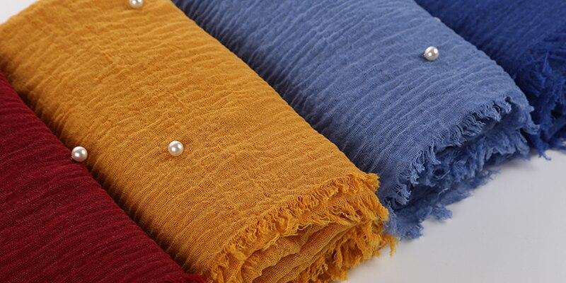 Pearls Beaded Cotton Scarf Fringes Women Soft Solid Hijab Popular Muffler Shawls Big Pashmina Wrap Hijab Scarves