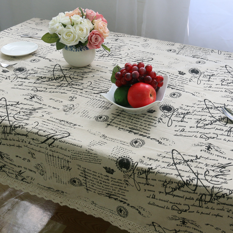 Letters Home Lace Table Linen Cotton Cloth Decor Cover Design European Oval  Tableclothes Tischdecke Hochzeit Nappe Blanche