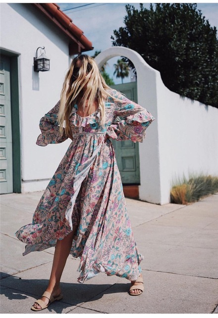 Women V-neck Floral Print The Gorgeous Sayulita Frill Gown Sexy Back Hole Detail Ruffles Maxi Dress