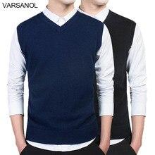 Varsanol, брендовая одежда, пуловер, свитер для мужчин, осень, v-образный вырез, тонкий жилет, свитера, без рукавов, мужской теплый свитер, хлопок, повседневный M-3xl