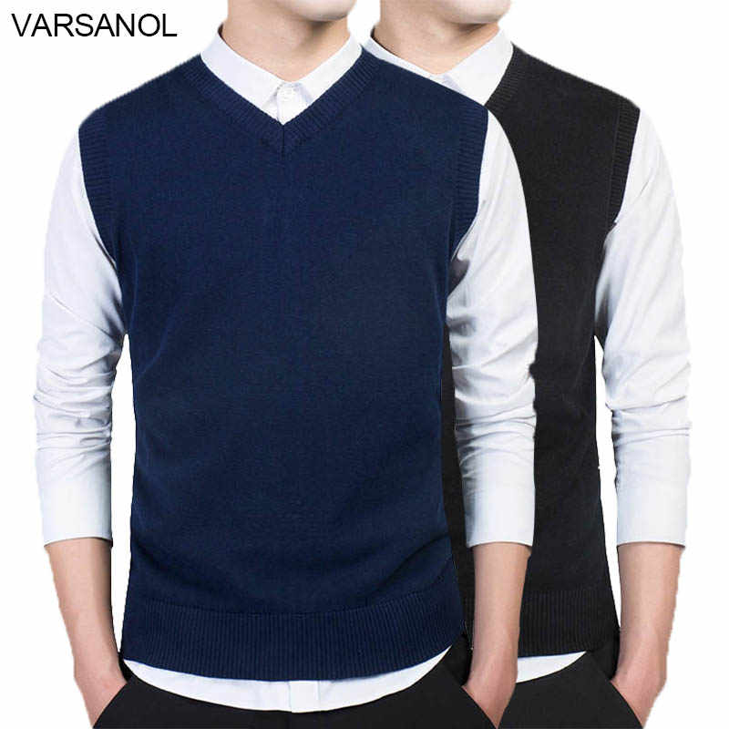 Varsanol Brand Clothing Pullover Sweater Men Autumn V Neck Slim Vest Sweaters Sleeveless Men's Warm Sweater Cotton Casual M-3xl