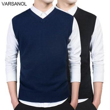 3b09d90fb1b5b Varsanol ropa de marca suéter hombres otoño cuello en V Slim chaleco sin  mangas de los hombres suéter de algodón Casual M-3xl