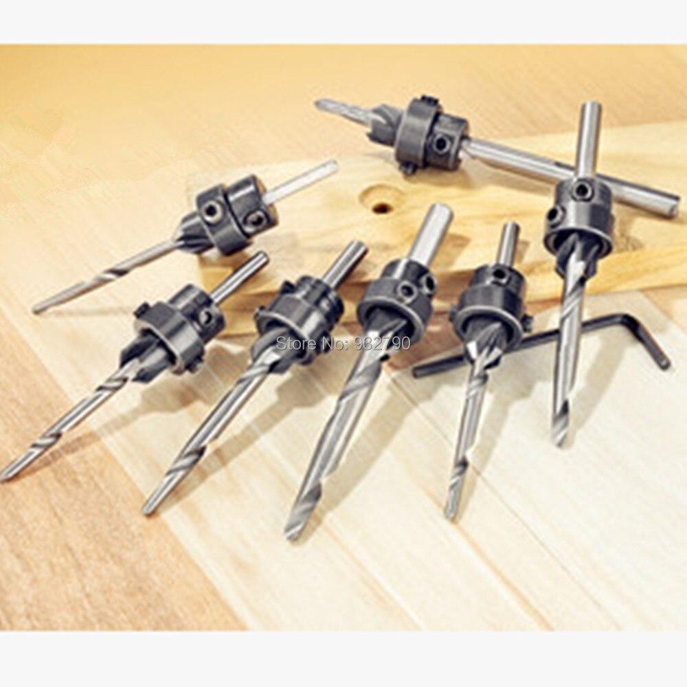 22pc Countersink Drill Bit Set Adjustable Depth Stop Collars Woodworking w// Case