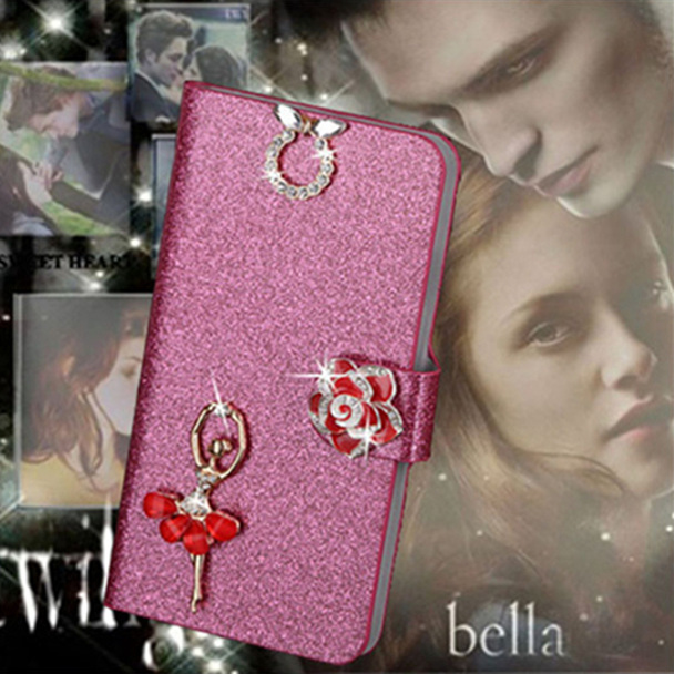 Luxury PU Leather Wallet Case For HTC Desire 816 Flip Cover Shining Crystal Bling Case with Card Slot & Bling Diamond